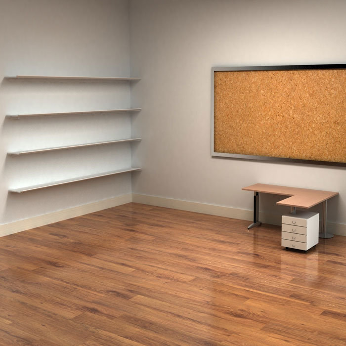 Room With Cork Board And Shelves