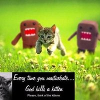 Every time you masturbate, God kills a kitten