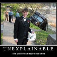 The guy holding a sewing machine, in front of a UPS Truck Accident (the unexplainable picture)