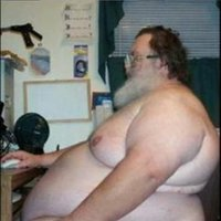 Fat Old Naked Man in Front of Computer
