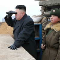 Kim Jong-Un Looking Through Binoculars