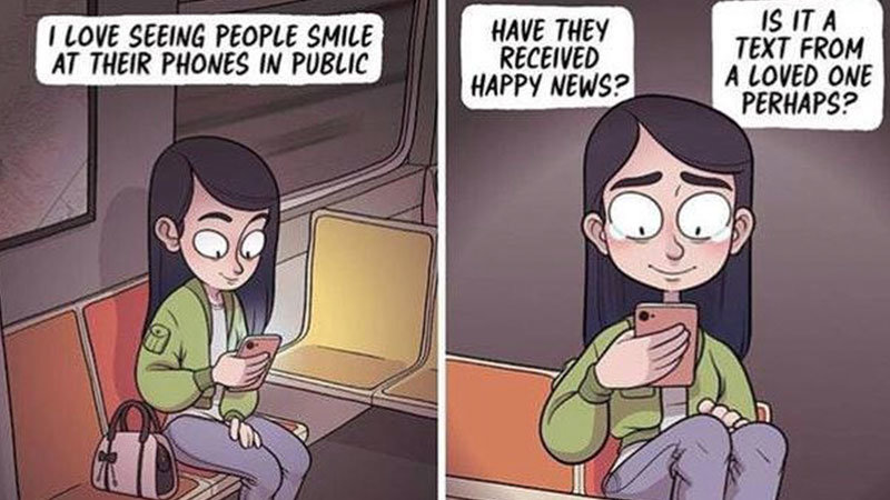 phones i love seeing people smile at their phones in public know your meme