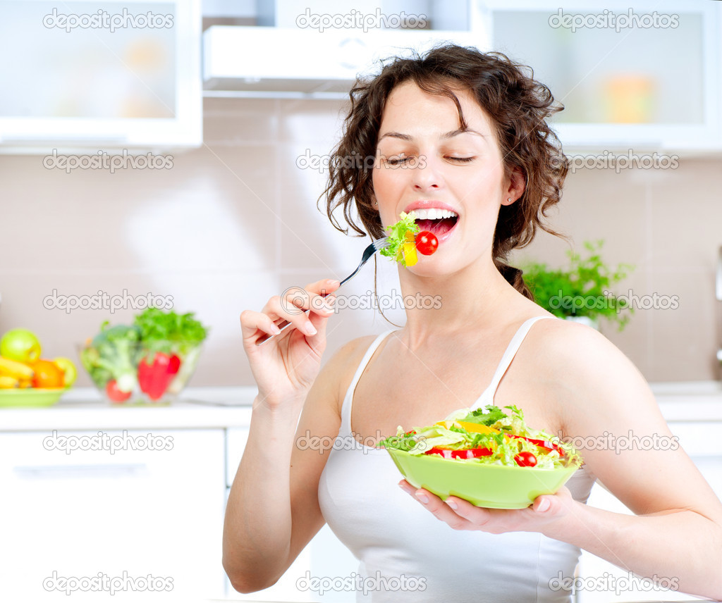 depositphotos_14134473 Diet. Healthy Young Woman Eating Vegetable Salad women laughing alone with salad know your meme