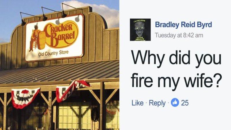 Internet Raids Cracker Barrel for Brad's Wife