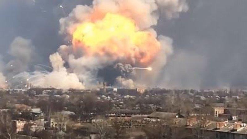 Massive Explosions at Ukrainian Ammo Depot