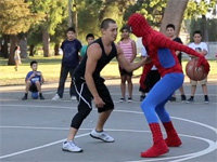 Spiderman Goes to Basketball Court