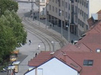 Pallet Riding in Tram Tracks in Slovakia
