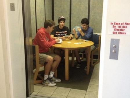 A Poker Night in the Dorm Elevator
