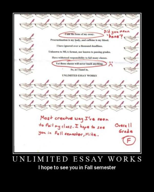 unlimited essay works Discover great essay examples let studymode help you uncover new ideas with free essay previews and research papers.