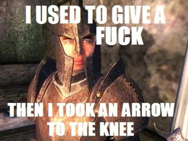 2ac i took an arrow in the knee know your meme