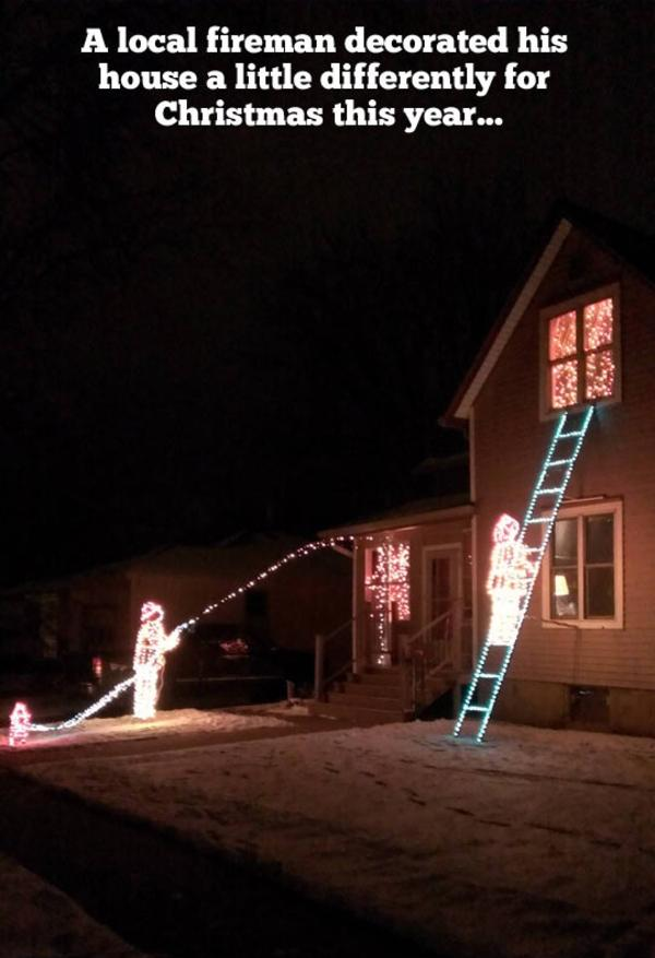 A Fireman's Christmas Light Decoration | Holiday Light Show Videos ...