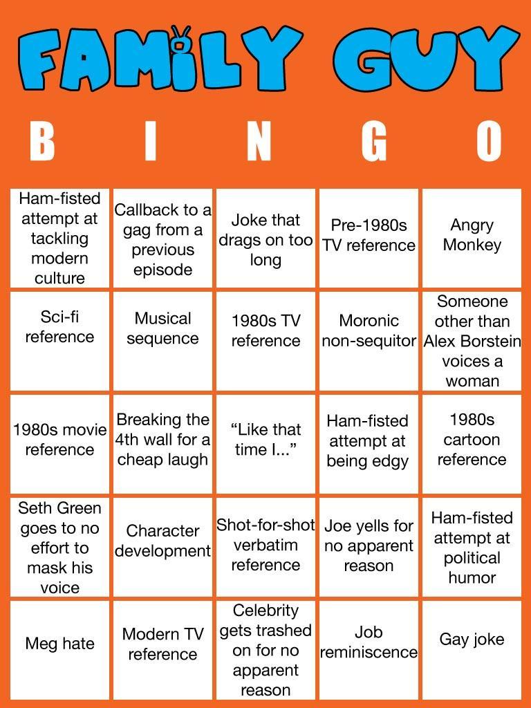 Family Guy Bingo Custom Bingo Cards Know Your Meme