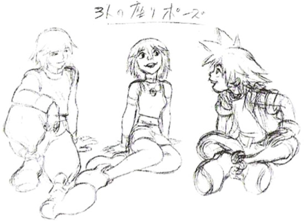 Kairi Riku And Sora Concept Art Kh Kingdom Hearts