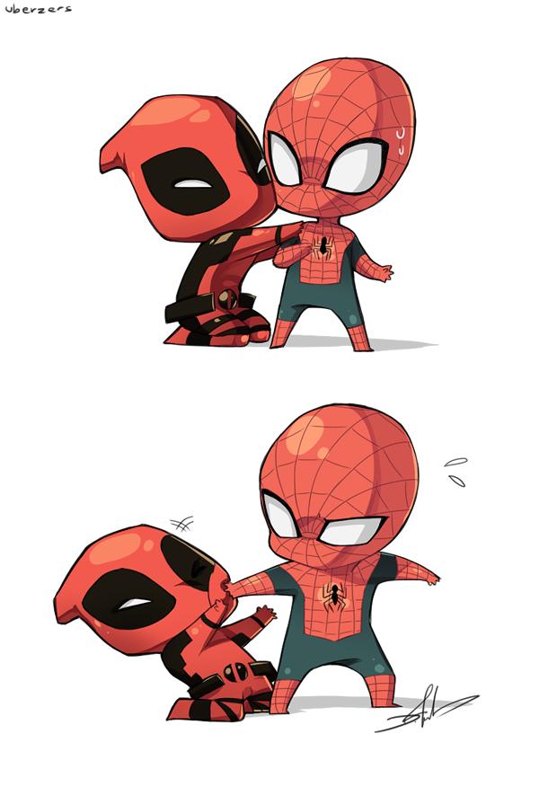 Человек паук и дэдпул рисунок