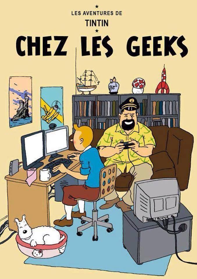 e98 tintin at the geek's (ft cptn haddock as joueur du grenier