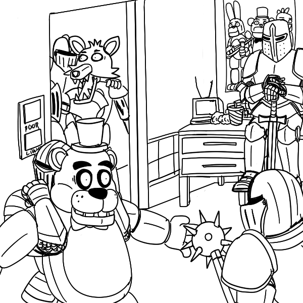five nights at freddys 2 five nights at freddys sister location white cartoon black and - Five Nights At Freddys Coloring Book