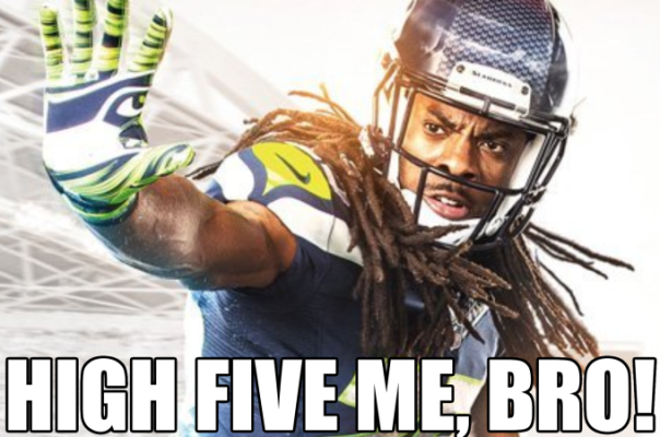 b66 richard sherman wants a high five reaction images know your meme