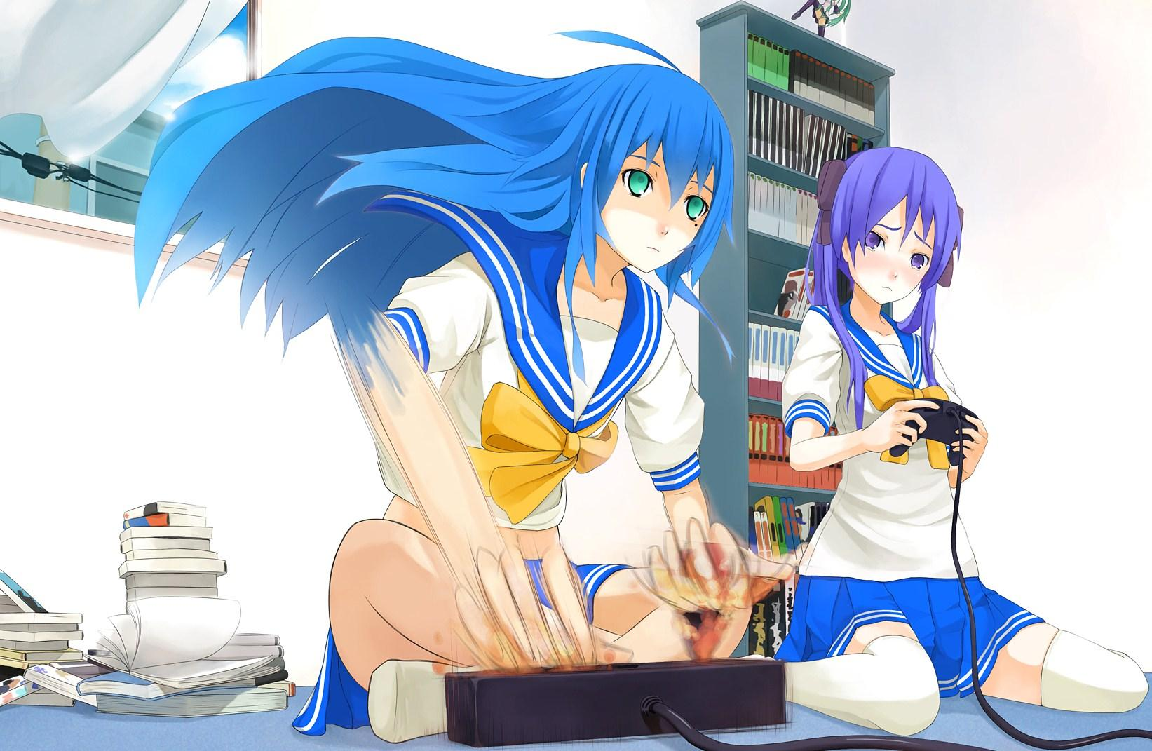 Konata And Kagami Playing Video Games