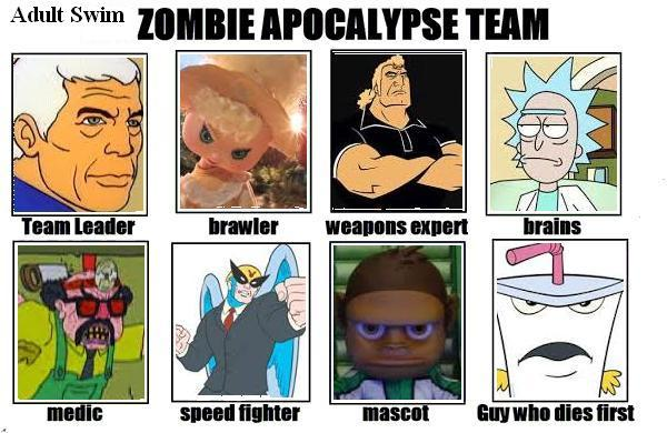1f7 adult swim my zombie apocalypse team know your meme