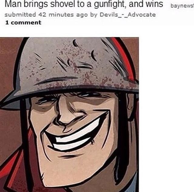 de9 red soldier brings a shovel to a gunfight and wins team fortress 2