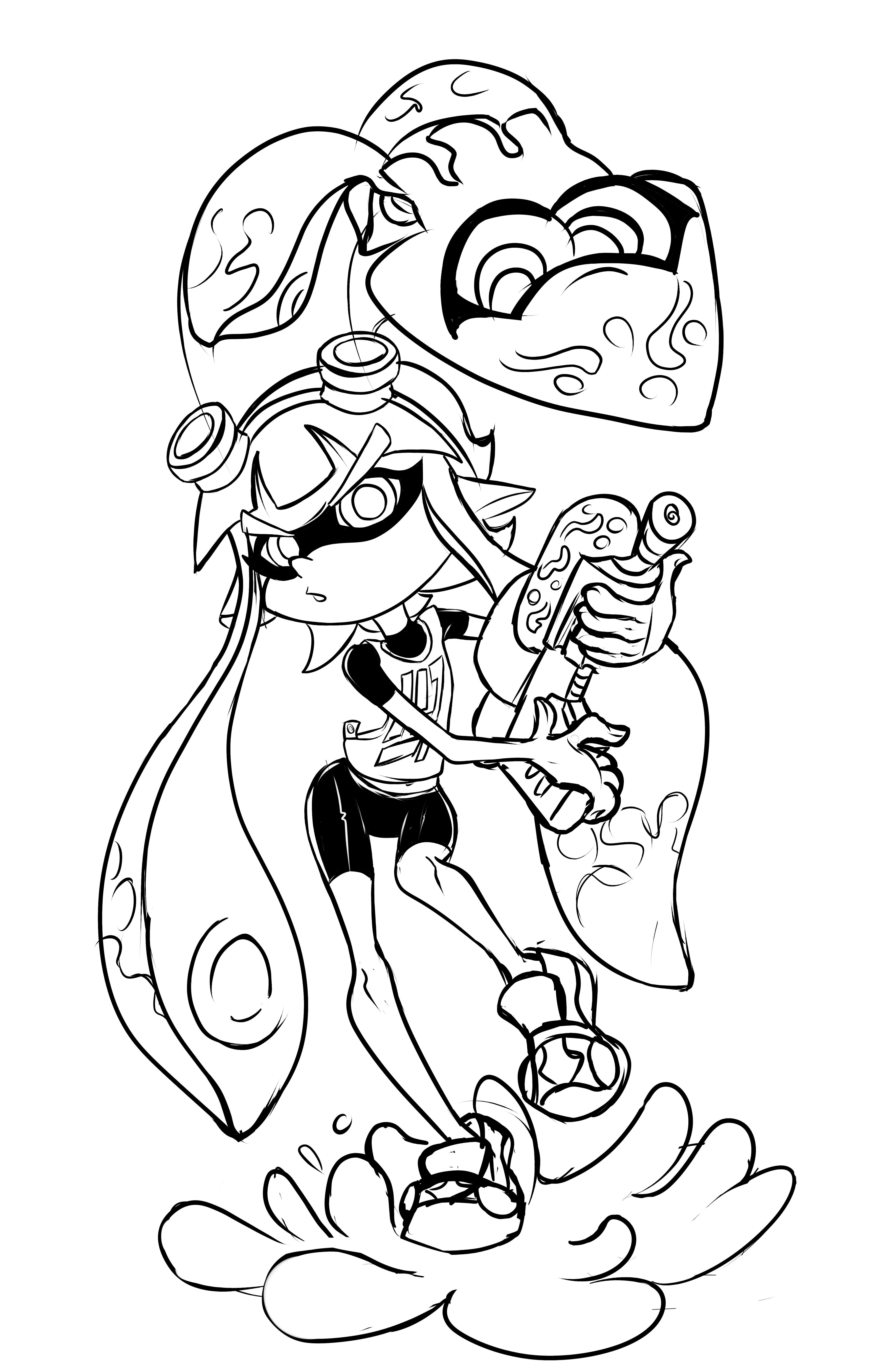 Giant Squid Shooting Ink Coloring Pages
