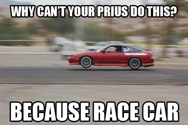 dd8 better than a prius because race car know your meme