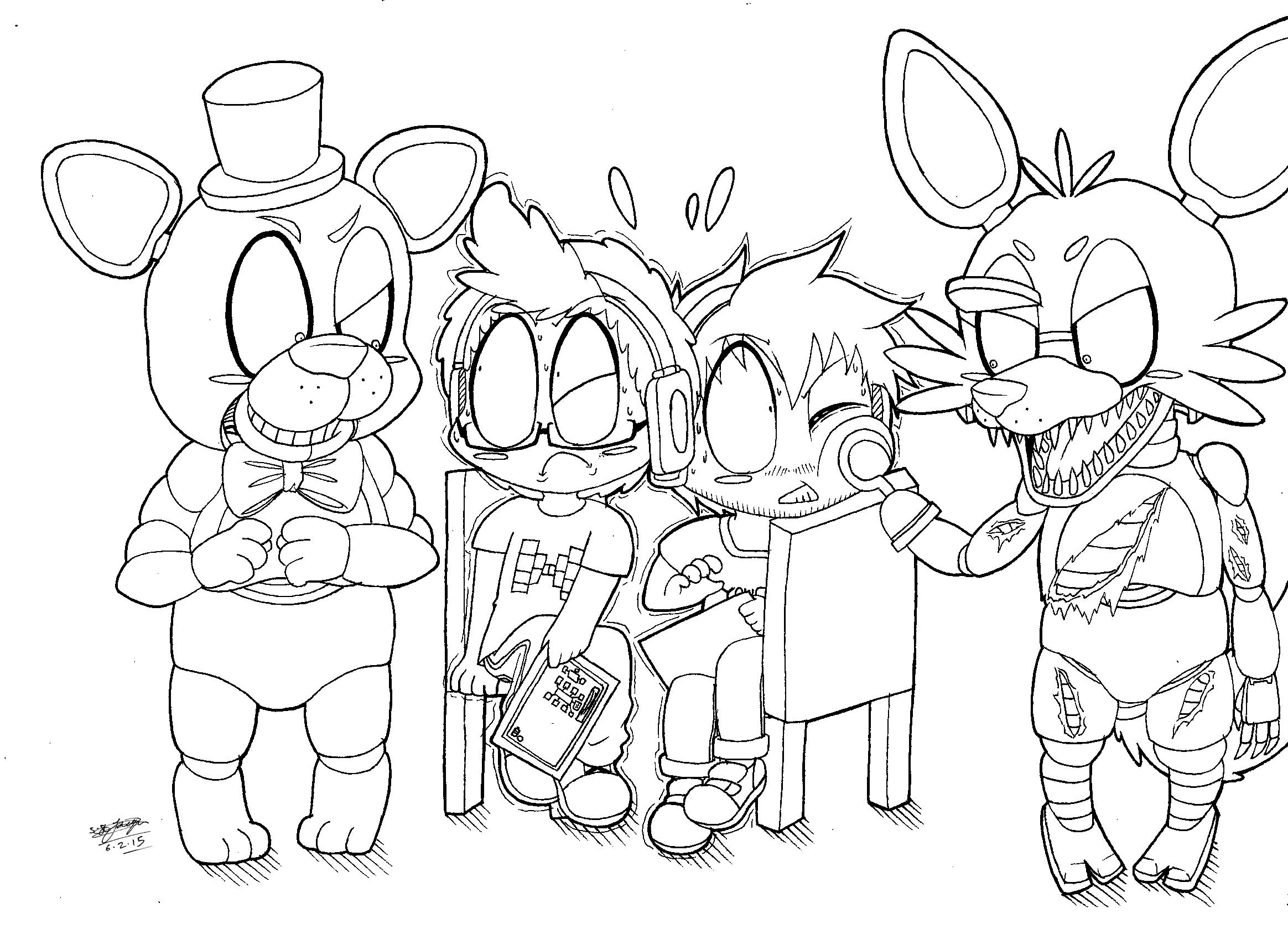 Fnaf chibi freddy and foxy meet chibi yamimash and for Fnaf anime coloring pages