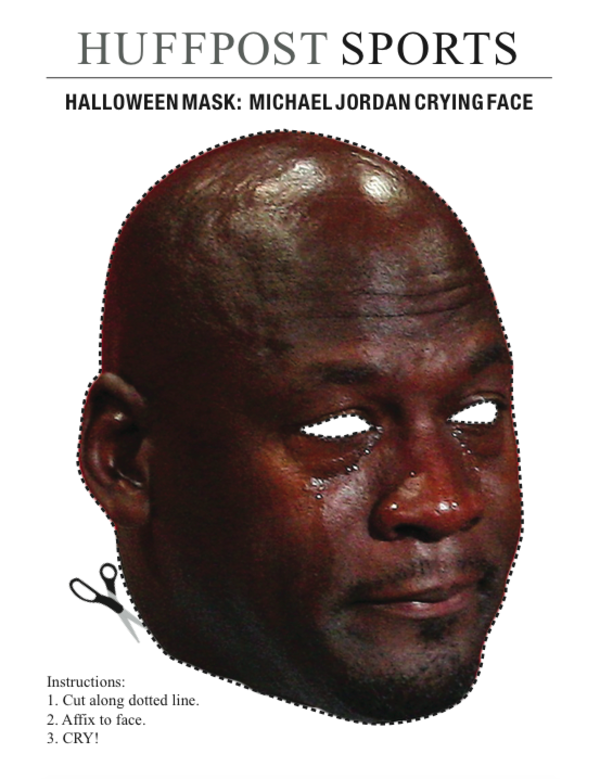 HUFFPOST SPORTS HALLOWEEN MASK: MICHAEL JORDAN CRYING FACE Instructions: 1.  Cut along dotted