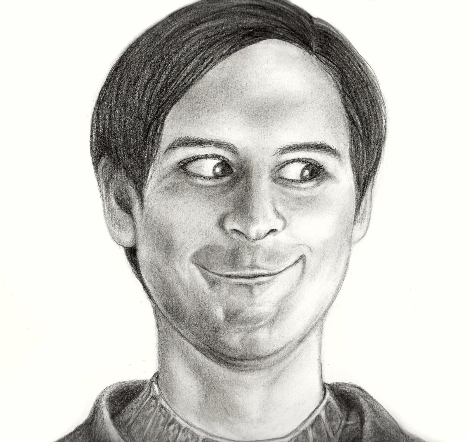 realistic drawing tobey maguire face know your meme