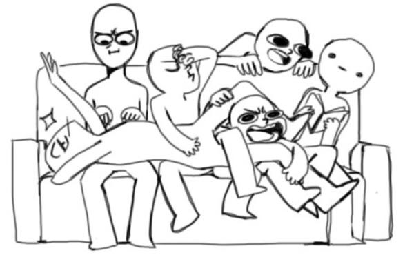draw the squad couch blank template 6 people