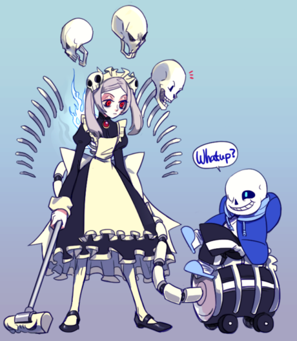 Skullgirls And Undertale Crossover Marie And Sans