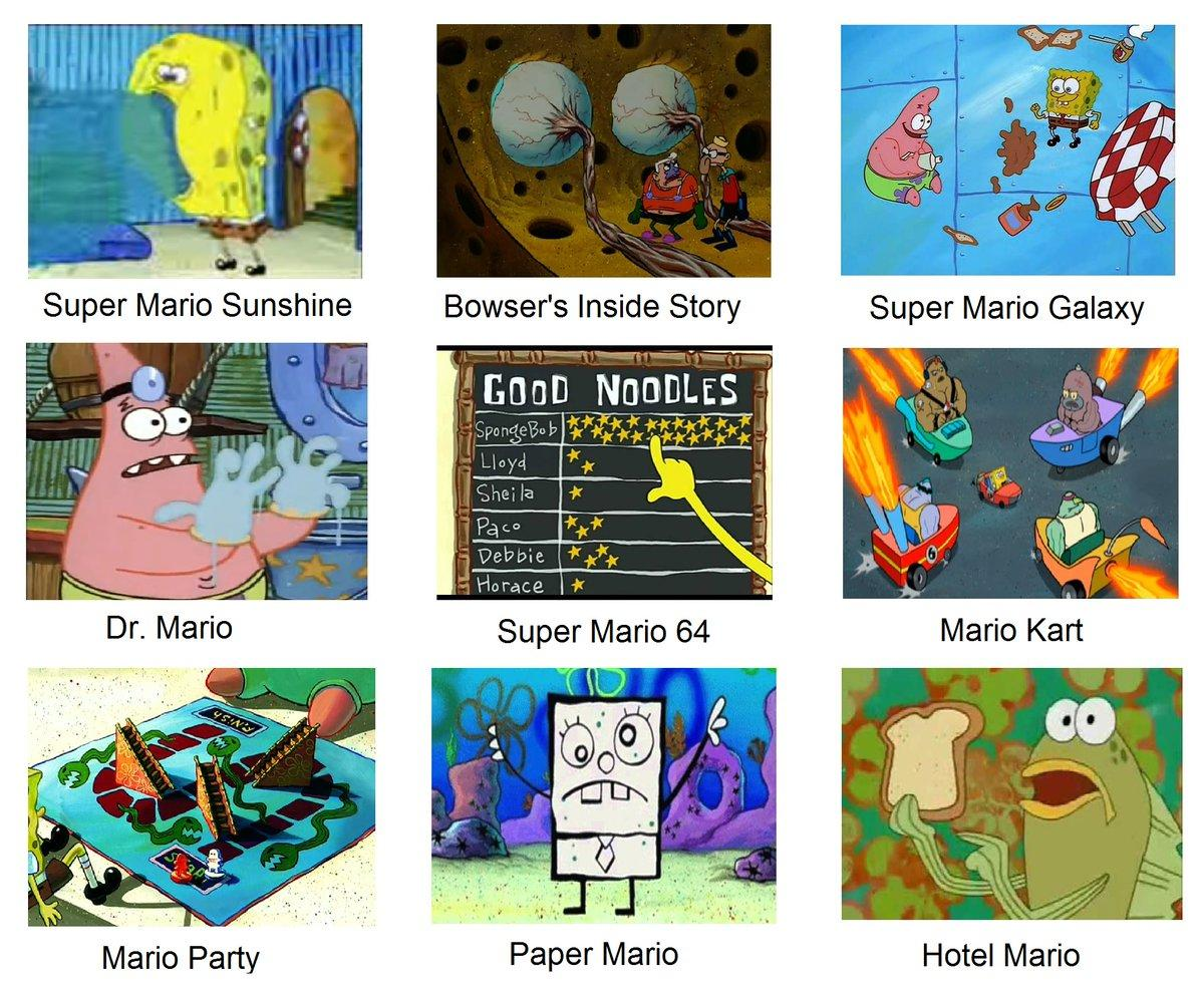 Spongebob As Mario Games Spongebob Comparison Charts