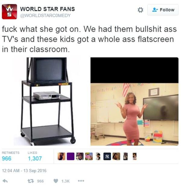 Flat Screen Television Tweet By Worldstarc0medy Teacher