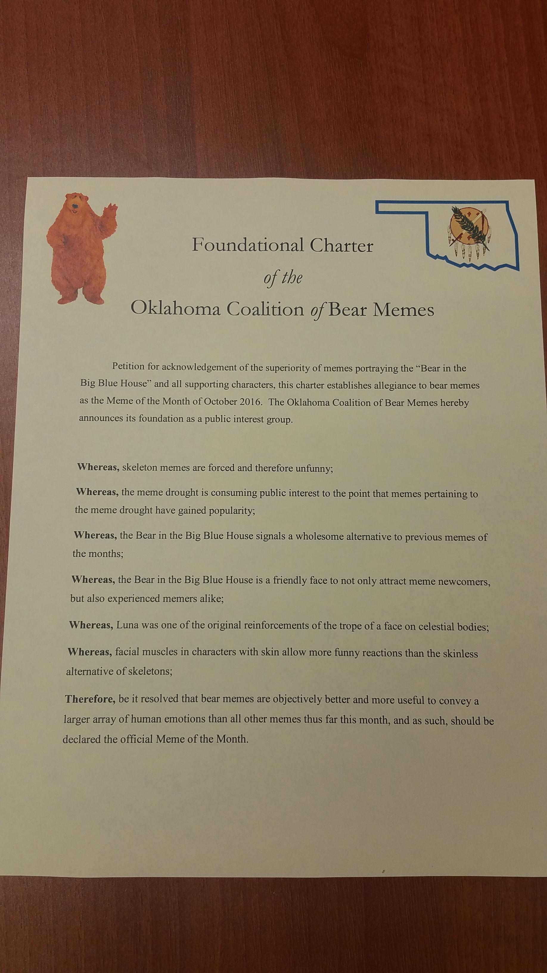 foundational charter of the oklahoma coalition of bear memes