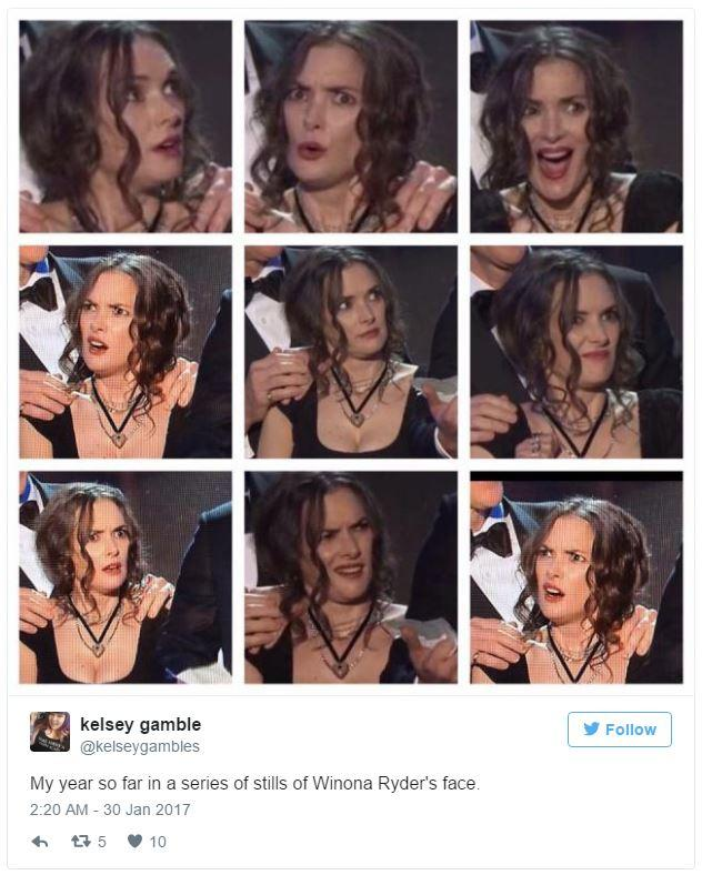 7a7 kelsey gamble's tweet winona ryder's sag award reaction know