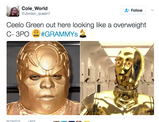 bea cee 3 p lo ceelo green's grammys outfit know your meme