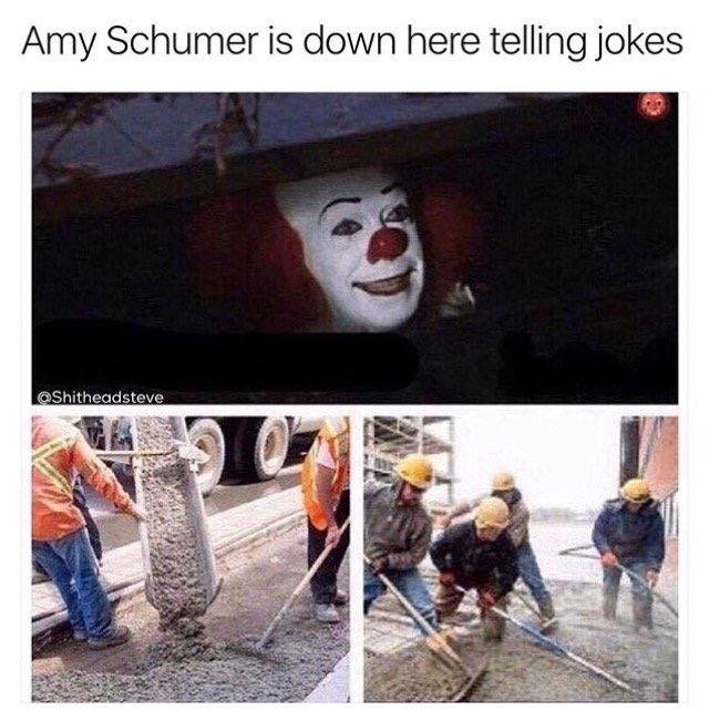 19f amy schumer is telling jokes pennywise in the sewer know your meme