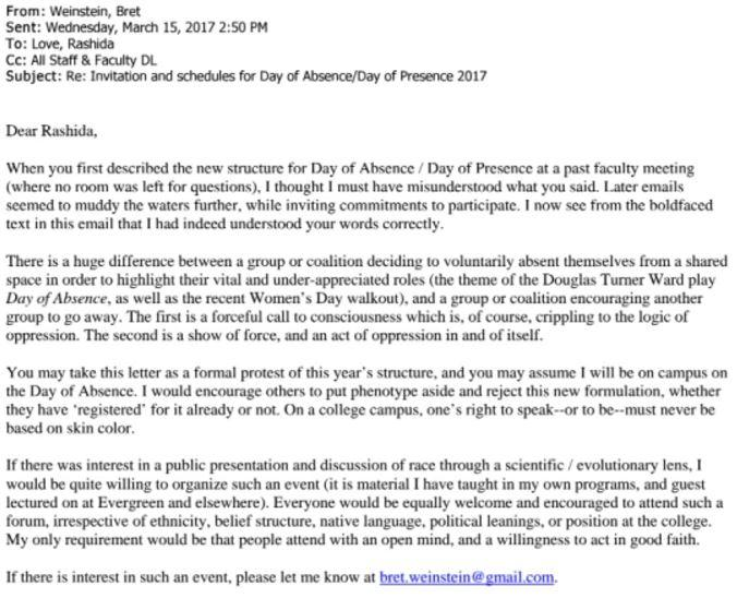 Evergreen State College Faculty Letter