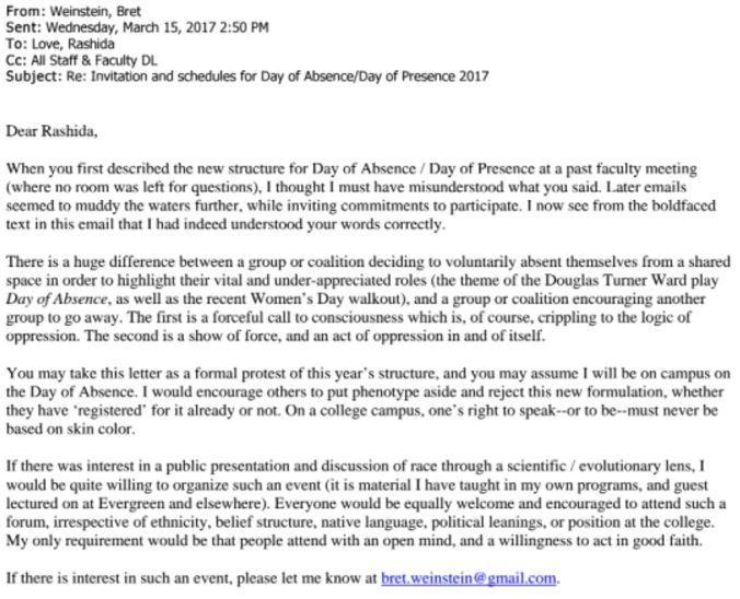 Bret Weinsteins Letter To Rashida