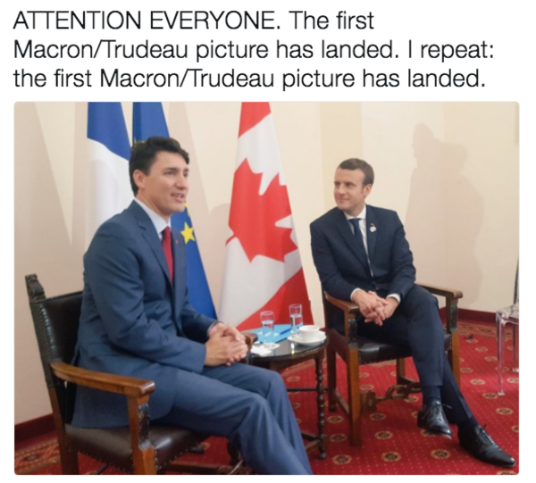 e8c emmanuel macron and justin trudeau bromance know your meme