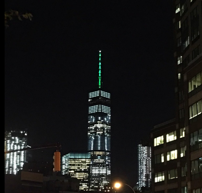 World The Empire State Stands With You New York Shines Green For