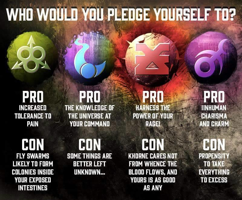 Who do you pledge yourself to?   Warhammer 40,000   Know ... Warhammer 40k Good Chaos Gods