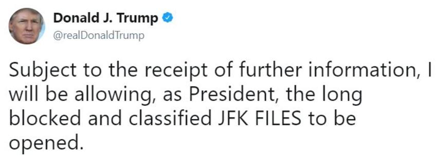 john f kennedy assassination records declassification know your tweet by the real donald trump saying he will release all the info on jfk if