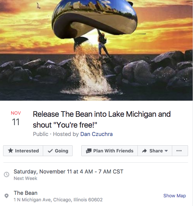 d4b release the bean into lake michigan and shout \