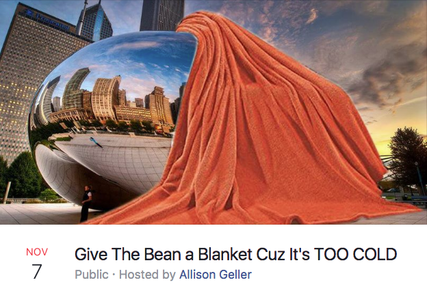 6f4 give the bean a blanket cuz it's too cold chicago bean facebook