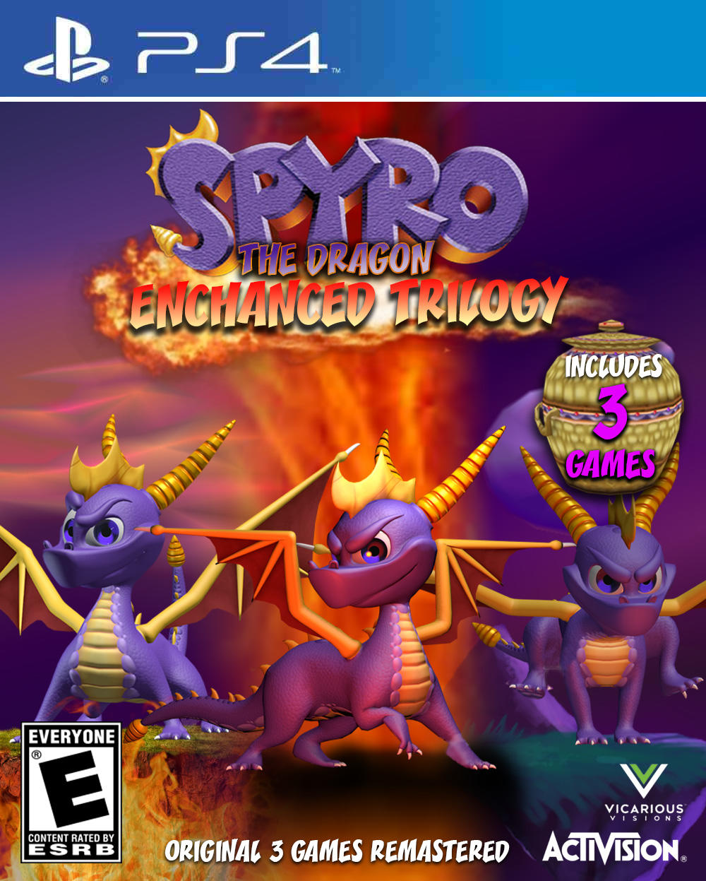 spyro the dragon enchanced trilogy ps4 cover gaming