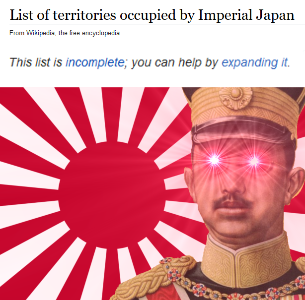 List Of Territories Occupied By Imperial Japan