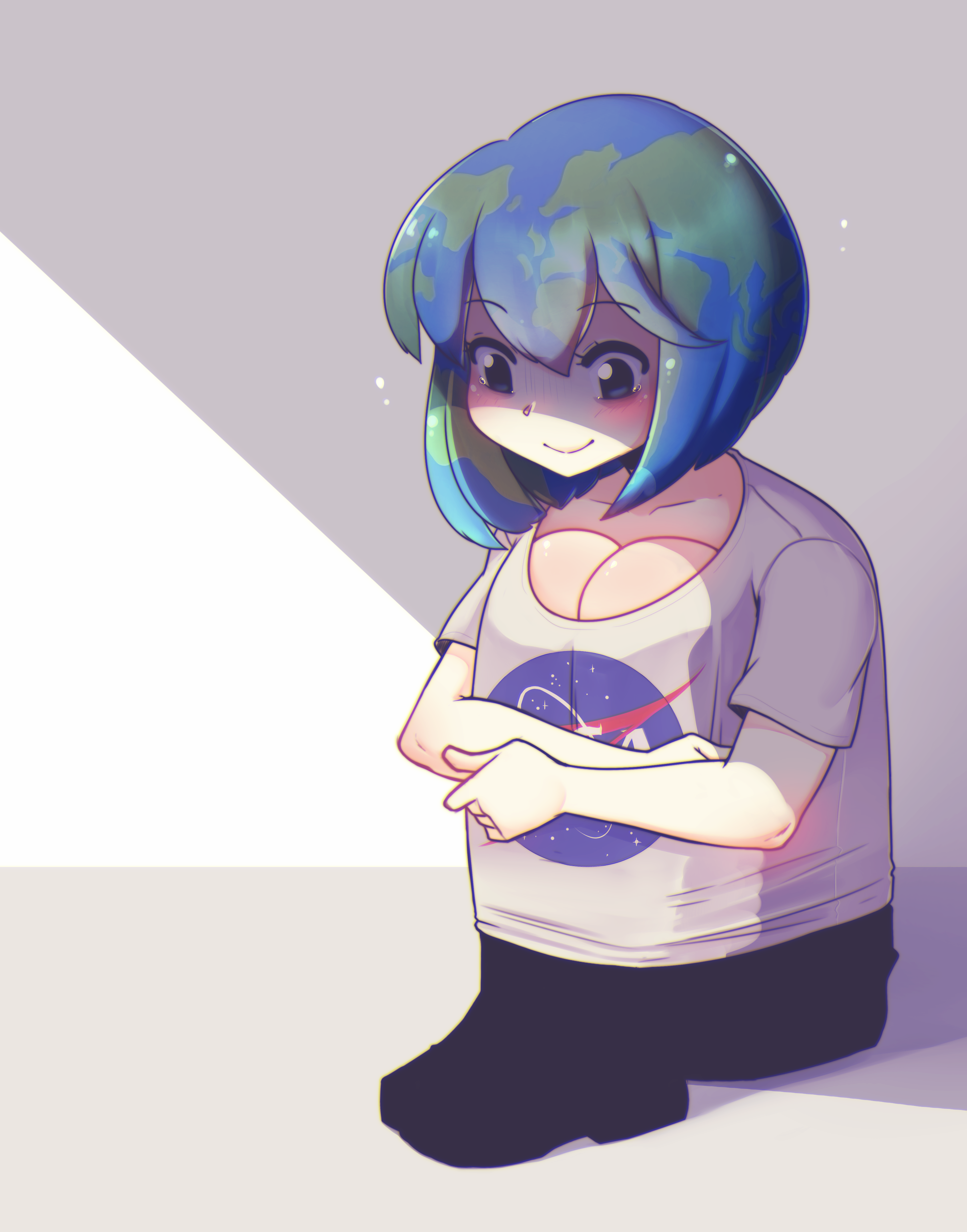 earth-chan pretending she is not flat | earth-chan | know your meme