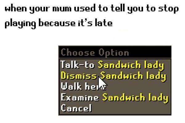 91a dismiss sandwich lady runescape know your meme