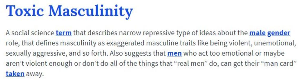Urban Dictionary Definition | Toxic Masculinity | Know ...